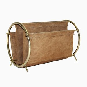 Brass and Suede Leather Magazine Rack, 1950s