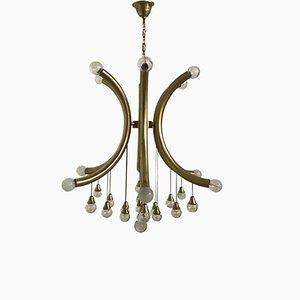 Mid-Century Brass & Crystal Sphere Chandelier