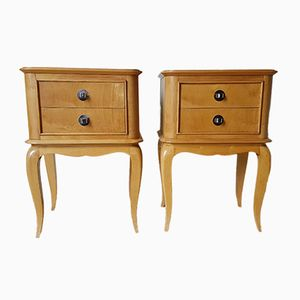 Mid-Century Sycamore Bedside Tables, 1950s, Set of 2