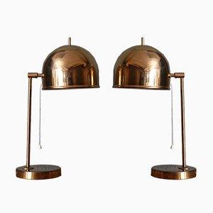 Lámparas de mesa B-075 de latón de Bergboms, años 60. Juego de 2