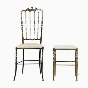 Sgabello e sedia Chiavari in ottone di Giuseppe Gaetano Descalzi