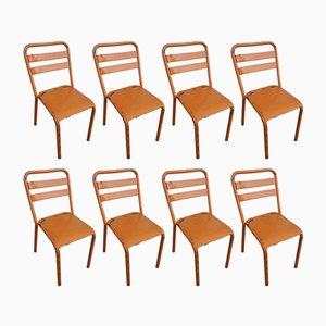 Chaises T2 Industrielles Vintage en Métal Orange de Tolix, Set de 8
