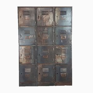 Vintage Steel Locker with 12 Compartments, 1920s