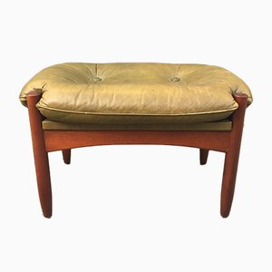 Leather & Teak Ottoman by Göte Møbler, 1960s
