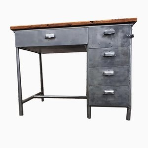 Vintage Industrial Desk with Metal Drawers