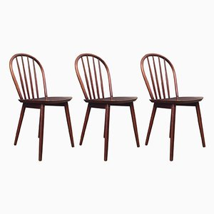 Danish Spindle Back Chairs from Billund Møbler, 1970s, Set of 3