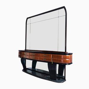 Curved Rosewood Sideboard with Opaline & Crystal by Vittorio Dassi, 1950s