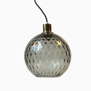 Glass & Brass Pendant Lamp from Orrefors, 1960s