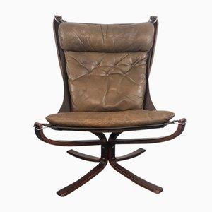 Chaise à Dossier Haut Falcon Marron Vintage par Sigurd Resell