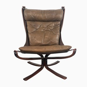 Vintage Brown High Backed Falcon Chair by Sigurd Resell