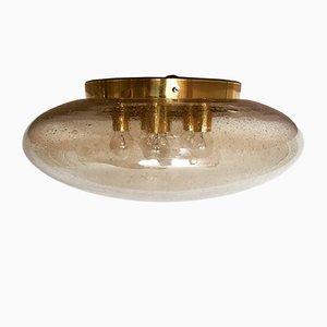 Lampada da soffitto grande in ottone, anni '70