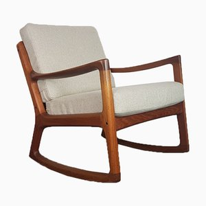 Mid-Century Teak Rocking Chair by Ole Wanscher for France & Søn