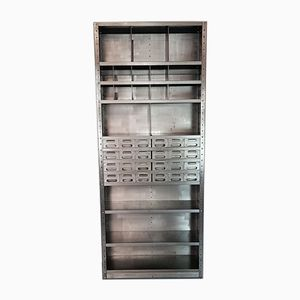 Vintage Industrial Metal Shelving Unit with Drawers