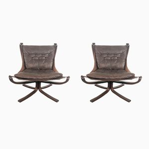 Vintage Low Back Falcon Chairs by Sigurd Ressell, Set of 2