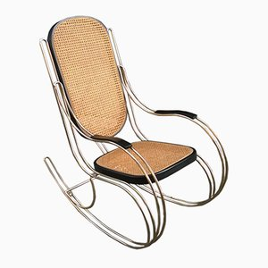 Rocking Chair en Métal et Jonc, 1970s