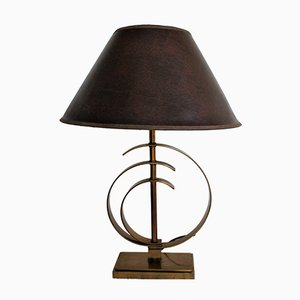Vintage Brass Elliptical Table Lamp, 1970s