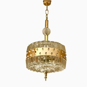 Pendant Lamp with Gilt Structure by Carl Fagerlund for Orrefors, 1950s