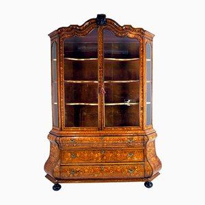 18th-Century Dutch Walnut Marquetry Display Cabinet