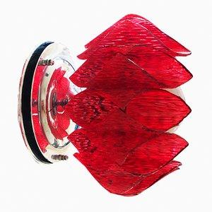 Applique in lucite rossa e vetro opalino, anni '60