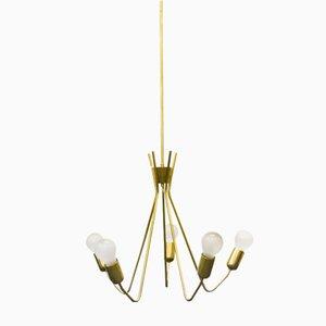 Lámpara de araña de 5 brazos de cobre, años 50