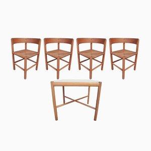 Juego de comedor vintage de Mogens Lassen para Fritz Hansen, 1963. Juego de mesa y 4 sillas