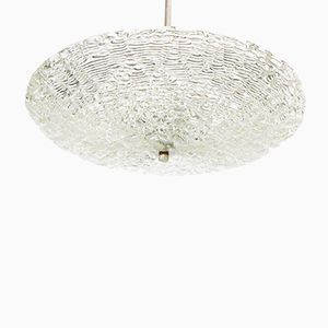 Crystal Glass ceiling Lamp, 1970s