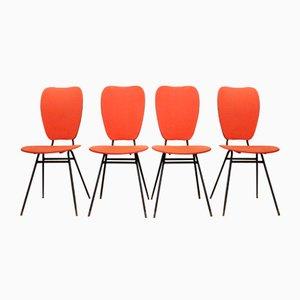 Chaises Rouges, 1950s, Set de 4