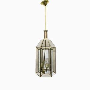 Lámpara de techo Art Déco vintage de vidrio dorado