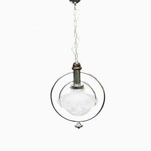 Lámpara colgante de vidrio cromado, años 60