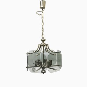 Glass and Nickel Foyer Chandelier, 1970s
