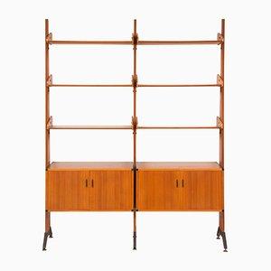 Biombo o mueble de pared italiano de chapa de teca de AV Arredamenti Contemporanei, años 60