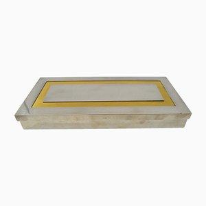 Caja rectangular de metal cepillado, latón y vidrio negro de Liwan's, años 70