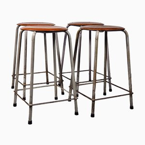 Vintage Industrial Stackable Stools, 1950s, Set of 4