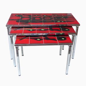 3 Chromed Metal Nesting Tables with Enamelled Tile Trays, 1950s