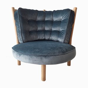 Blue Velvet Lounge Chair by Guillerme & Chambron for Votre Maison, 1960s