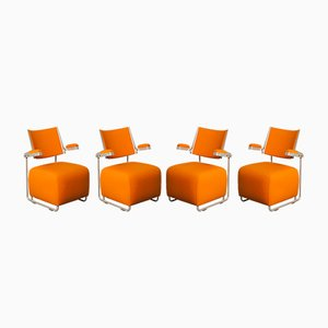 Vintage Oscar Orange Lounge Chairs by Harri Korhonen for Inno Interior Oy, Set of 4