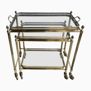 Vintage Brass Nesting Trolleys, Set of 2