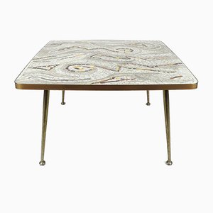 German Mosaic & Brass Coffee Table, 1950s