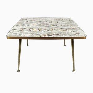Mesa de centro alemana de mosaico y latón, años 50