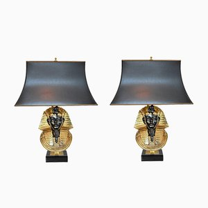 Pharaoh Table Lamps by Maison Jansen for Deknudt, 1970s, Set of 2