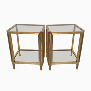 Tables de Chevet Vintage en Laiton, 1970s, Set de 2
