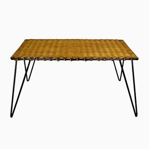 Rattan & Metal Coffee Table by Guys Raoul, 1950s