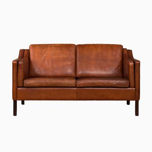 Vintage Cognac Leather Two-Seater Sofa, 1970s