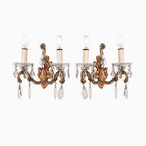 Wandlampen aus Kristallglas von Palme & Walter, 1960er, 2er Set