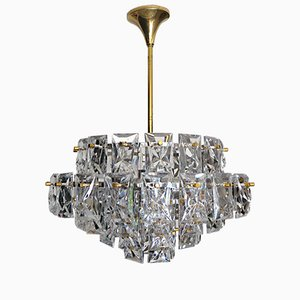 Crystal & Gilt Brass Chandelier from Kinkeldey, 1960s