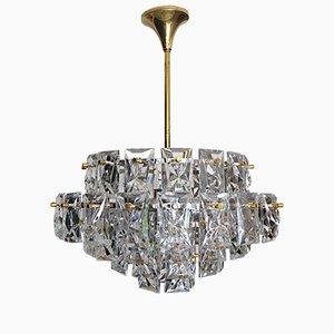 Lámpara de araña de cristal y latón dorado de Kinkeldey, años 60