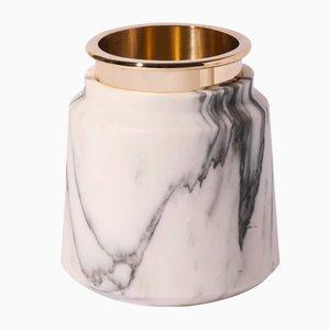 Vaso STONELAND in marmo arabescato di Studio Tagmi per StoneLab Design