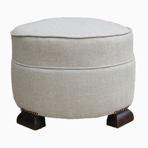 Vintage French Linen Ottoman
