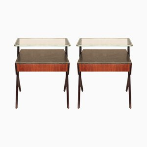 Italian Rosewood Bedside Tables, 1950s, Set of 2