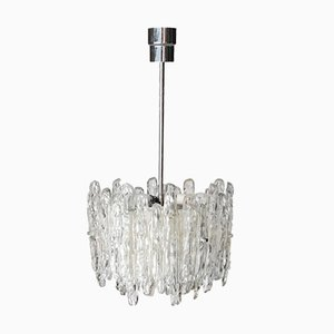 Ice Glass Ceiling Lamp from J.T. Kalmar, Austria, 1960s